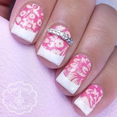 These beautiful floral patterns matched with a french tip, make for a perfect wedding day mani. Preen Me VIP Roselynn also used her precious Nail Jewel gift from www.JamesAllen.com. #PutARingOnIt