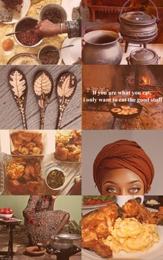 """inside the box - The Traveling Witch - inside the box bathtime-witches-brew: """"afrowitch aesthetic :: kitchen witch ✨ ((because I never see kitchen witch soul food)) """" - Witch Aesthetic, Aesthetic Collage, Kitchen Witchery, New Fruit, Witches Brew, Eating Plans, Food Items, Me Time, Soul Food"""