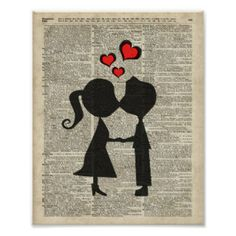 I love you illustration over an dictionary page poster