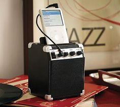 iPod/iPhone Classic Mini Amplifier from Pottery Barn. Ipod Classic, Classic Mini, Ipod Speakers, Funny Furniture, Ipod Dock, Home Office Accessories, Modern Outdoor Furniture, Desktop Organization, Cool Tech
