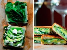 Grilled sandwich with avocado, spinach and cheese (low-calorie dish) Vegetarian Recipes, Snack Recipes, Good Food, Yummy Food, Delicious Meals, 15 Minute Meals, Canadian Food, Spinach And Cheese, Dinner Options