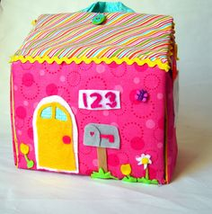 A girl and a glue gun: fabric dollhouse would be cute to make as a sewing basket