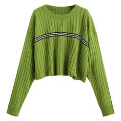 Oversized Cropped Stripes Panel Sweater Green (€24) ❤ liked on Polyvore featuring tops, sweaters, zaful, oversized striped sweater, over sized sweaters, striped top, oversized cropped sweater and striped sweater