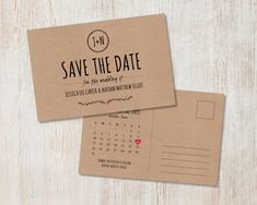 Rustic Wedding Save the Date, Kraft #Savethedate, Rustic Save the Date Postcard, Country Wedding, Laurel Wreath, DiY Print Save the Date by PaperRouteCollective on Etsy https://www.etsy.com/listing/207865883/rustic-wedding-save-the-date-kraft-save