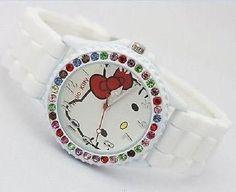 New Fashion Lovely Hellokitty Girls Ladies Women's Jelly Silicone Wrist Watch 17