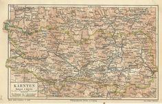 1887 Kärnten Österreich Alte Landkarte Antique Map Carinthia