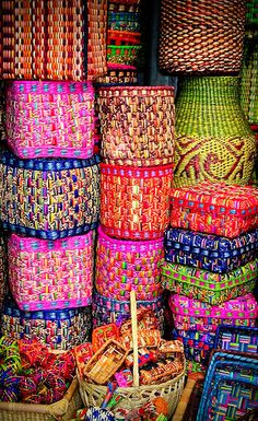 from another pinner....I think this is stunning!~Beautiful colorful baskets at a market in Lima, Peru by Wickedlady