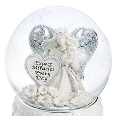 """♫ Plays """"Amazing Grace"""" / Personalized Miracle Angel Musical Water Globe , Add Your Message"""