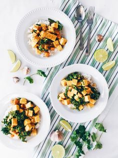 Cari de tofu au lait de coco, courge et kale Chana Masala, Vegan Recipes, Food Porn, Ethnic Recipes, Tofu Curry, Healthy Food, Impression, Squash, Nom Nom