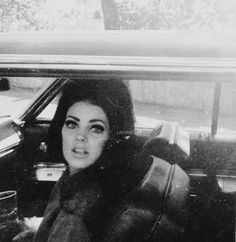 """ladypresley: """"""""""""Ms. Rosalee took this before Pris knew she was being snapped. She turned around and there Ros- FLASH. Looks scared."""""""" Priscilla Presley photographed by fan at Graceland, c. 1968. """""""