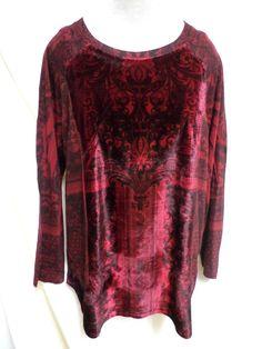 Dressbarn EUC Plus Size Red & Black Gorgeous Top 1X #Dressbarn #KnitTop