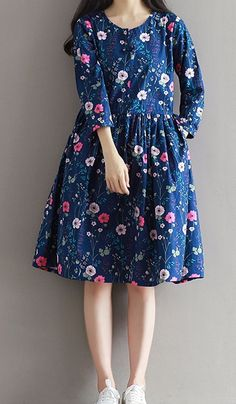 Women loose fit over plus size retro flower dress skater pocket tunic pregnant #Unbranded #dress #Casual