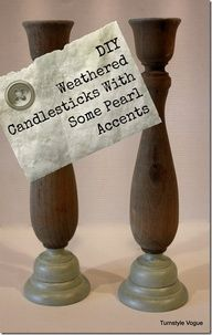 DIY Weathered Candlesticks With Some Pearl Accents