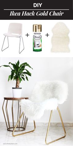 75 IKEA hack ideas for decorating your homeBest IKEA hacks and DIY hack ideas for furniture projects and home decor from IKEA - DIY IKEA Hack Gold Chair - creative IKEA hack tutorials for DIY Furniture Projects, Home Projects, Kitchen Furniture, Furniture Storage, Apartment Furniture, Furniture Vanity, Dresser Storage, Furniture Plans, Luxury Furniture