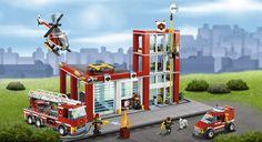 LEGO.com city Home - Producten - Vuur - Brandweerkazerne Lego City Fire Station, Lego Police Station, Best Lego Sets, Fire Fire, Cool Lego, Lego Movie, Legoland, Legos, Memories