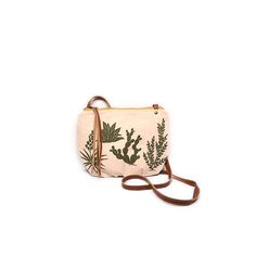 date purse  • small crossbody cactus bag • olive green cactus print - screenprinted succulents - spring summer style