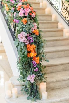 Tiffany & Ben's Lavish and Bright Engagement Party Captured by Sanaz Photography   Gorgeous overflowing florals on staircase