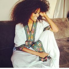 Ethiopian Beauty, and Style! Ethiopian Beauty, Ethiopian Dress, Ethiopian Music, Ethiopian Traditional Dress, Traditional Dresses, African Beauty, African Fashion, Curly Hair Styles, Natural Hair Styles