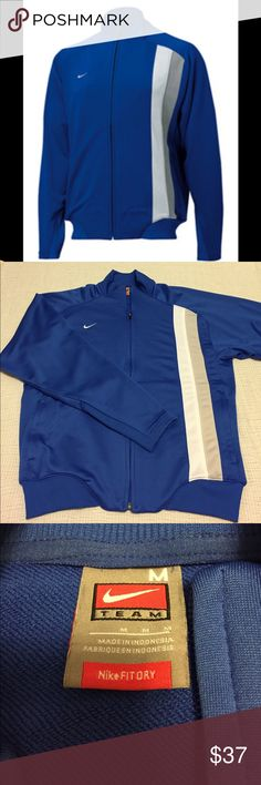 """Men's - Nike Fit Dry Mercrial blue zip up jacket This jacket is in very good condition!! There's 2 pockets on the front.   Approximate measurements: Total length - 25"""" Armpit to armpit - 23"""" Sleeve length - 24 1/4""""  M1024 Nike Jackets & Coats"""