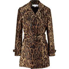 PAUL & JOE Brown Leopard Woven Coat ($805) ❤ liked on Polyvore