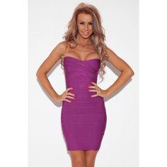 Purple Strapless Bandage Dress