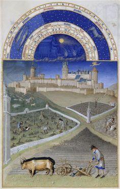 Le mois de Mars. Jean et Hermann Limbourg. Les Très Riches Heures du duc de Berry (1411-1416) le Calendrier.