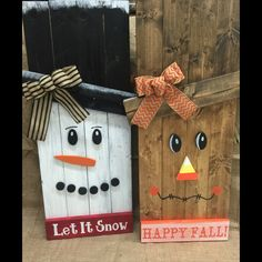 Reversible Snowman/Scarecrow pallet signs! @TheCraftyQueen