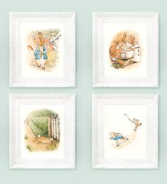 4 Vintage Peter Rabbit Prints. Beatrix Potter Prints. Fairytale Nursery Illustrations 3x4 Full Color Storybook Plates