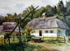 A hut in Pirogovo. Art of Yaroslav Radchenko, Ukraine Farm Cottage, Cottage Art, Ukrainian Art, Autumn Scenery, Old Barns, Science And Nature, Beautiful Paintings, Traditional House, Watercolor Paintings