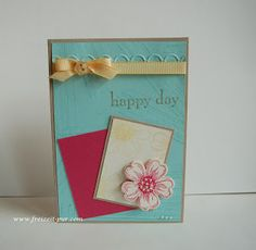 StampinUp! Happy Day, Flower Shop Safrangelb, Aquamarin, Osterglocke, Savanne Schleife mit Knopf www.freizeit-pur.com
