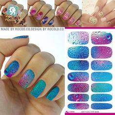 K1 Multi Color Nail Art Stickers Metallic Water Drops Space Water Transfer Nail Foils Decal Minx Manicure Decor Tools Nail Wraps