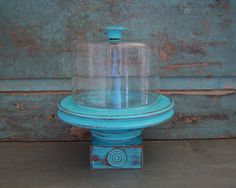 Pedestal Cloche Turquoise Distressed Wood by turquoiserollerset, $28.00