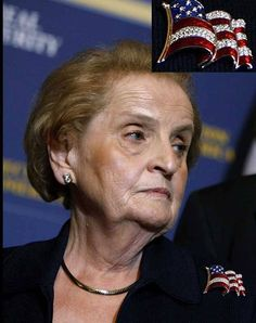 Madeleine Albright, Secretary of State under President Bill Clinton, wearing one of her well known pins.