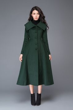 """Elegant and comfortable long green wool coat. Unique design will let you shine wherever you go, perfect for every occasion. Fastens at the front with five buttons Two side pockets The black belt is not sale items Shop sizing chart FYI ( made according to US sizing. actual body figures, NOT laying flat clothes measurements) SIZE (US 0, UK 4, Italian 34, French 32, German 30, Japan 1) bust: fits bust around 32.5"""" / 82.5cm Waist: fits waist around 25"""" / 64cm Hips: fits hips around 35"""" / 89cm…"""