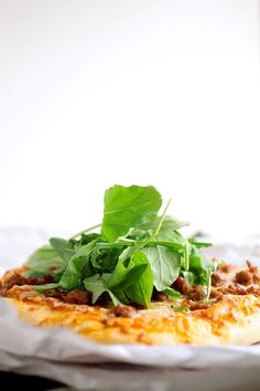 Spicy Sausage and Arugula Pizza
