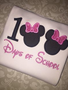 Minnie 100 days of school applique ruffle tee by osewcrazykids