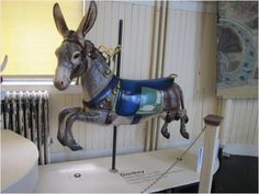 Restored donkey Merry-Go-Round animal so sweet Carosel Horse, Amusement Park Rides, Carnival Rides, Wooden Horse, Painted Pony, Merry Go Round, Horse Art, Fantasy, Donkey