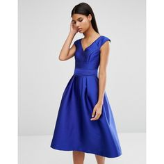Oasis Satin Bardot Fit+Flare (400 SAR) ❤ liked on Polyvore featuring dresses, blue, oasis dresses, flared dresses, blue dress, tall dresses and full flared skirt