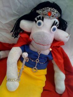 Meet Princess Snow-key the latest Sock Monkey creation from Pepe & Sherina Designs. She is 100% upcycled from royal discards. check out all our Sock Monkeys at www.pepesherinadesigns.com Sock Monkeys, Upcycle, Socks, Meet, Snow, Princess, Children, Check, Creative