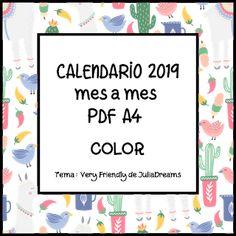 CALENDARIO 2019 PARA DESCARGAR GRATIS Organization Bullet Journal, Planner Organization, Diy And Crafts, Paper Crafts, Passion Planner, Teacher Binder, Book Journal, Printable Paper, Bookbinding