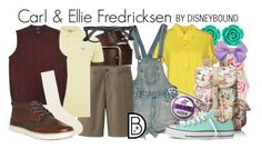 """Carl & Ellie Fredricksen"" by leslieakay ❤ liked on Polyvore featuring Bling Jewelry, Versace Jeans Couture, Uniqlo, Wild Pair, Maison Kitsuné, Ray-Ban, Dockers, Timberland, Converse and disney"