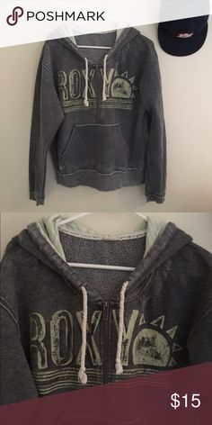 ROXY Hooded Sweater Long sleeve  Zipper 3/4 down Front pockets  Hooded with drawstring  53% Cotton 47% Polyester  Size: Large  Length: 22.5in    Condition: No wear, tears or stains.   ☑️No Pets  ☑️Non-Smoking home  ☑️Every item steamed throughly before shipped!  💌 Ships from Santa Monica, CA  🗝Follow me on Instagram! @koukil1908 ask to have a video of the item ✌️ Roxy Tops Sweatshirts & Hoodies