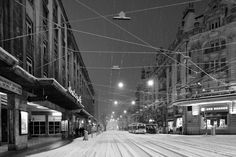 Lausanne Switzerland, by night under the snow - wonderful black and white pix Lausanne, My Heritage, Switzerland, Disneyland, Germany, Snow, Explore, Black And White, Pictures
