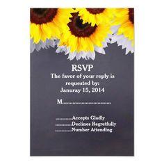 Rustic sunflower chalkboard wedding RSVP Personalized Invite