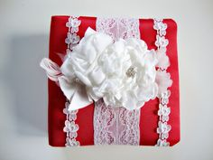 Red Wedding bithday Gift Red and white Photo Album Big by Lovalu, $115.00