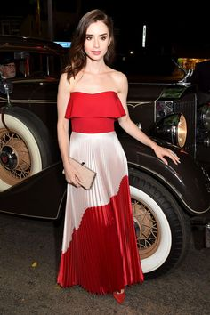Premiere Of Amazon Studios   The Last Tycoon  Lily Collins Lily Collins  Dress f93aa892f