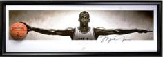 """Michael Jordan Autographed Chicago Bulls Wings Nike Concept Poster"""" Breaking Through Display Piece with Spalding Basketball - Framed (UDA) $3,045.45"""