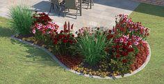 Bunt blühendes Beet mit Pflanzen wie Vielblättrige Lupine, Beetrosen, Rotspitz-Steinrose, Purpurglöcken und Scheinsonnenhut