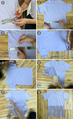 Diy shirt 77194581099743019 - Old Tee Makeovers Part The DIY Fringe Tee Source by lenyp Zerschnittene Shirts, Diy Cut Shirts, Ripped Shirts, Tie Dye Shirts, T Shirt Diy, Shirt Makeover, Cut Shirt Designs, Cut Up T Shirt, How To Cut Tshirt