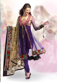 $110.40 Deep Purple Full Sleeve Net Designer Salwar Kameez 9303